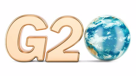 G20 concept. Golden inscription with rotating Earth Globe, 3D rendering isolated on white background