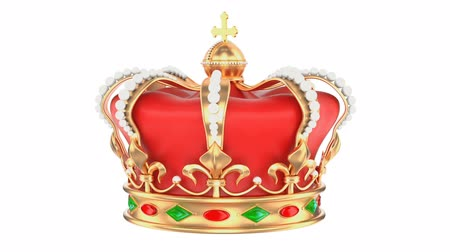 Royal Crown rotating, 3D rendering isolated on white background