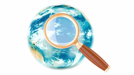 Global Search concept with rotating Earth globe, 3D rendering isolated on white background