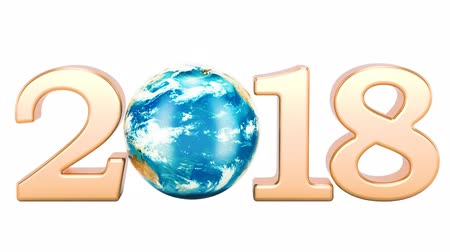2018 with rotating Earth globe concept, 3d rendering isolated on white background