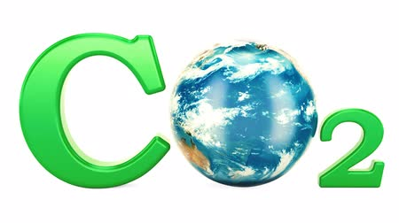 rotational : CO2 inscription with rotating Earth globe, pollution concept. 3d rendering isolated on white background