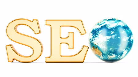 SEO concept with rotating Earth Globe, 3D rendering isolated on white background
