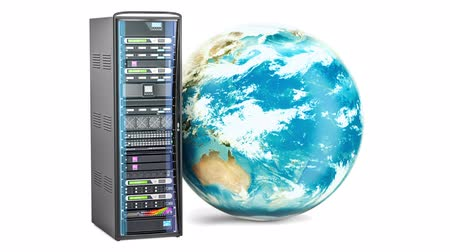 Server Rack with rotating Earth Globe. Global internet concept, 3D rendering Dostupné videozáznamy