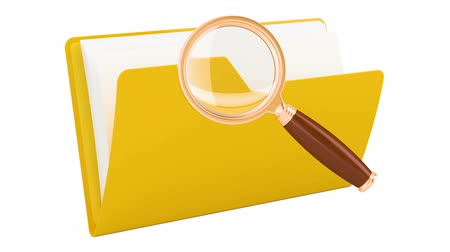Folder with magnifier, animation. 3d rendering isolated on white background Dostupné videozáznamy