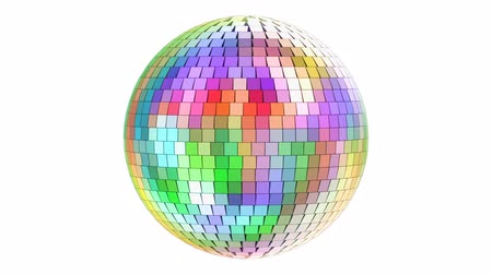 Rotating mirror disco ball, 3D rendering isolated on white background
