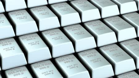 Silver bars background, animation. 3D rendering