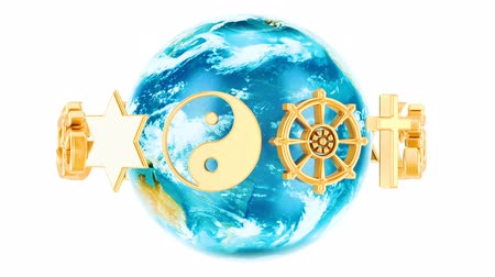 Religions symbols with rotating Earth Globe, 3D rendering isolated on white background Dostupné videozáznamy