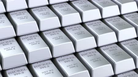 Nickel bars background, animation. 3D rendering
