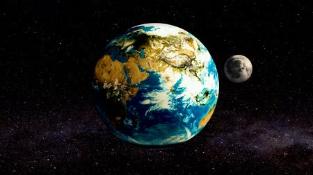 Moon rotation around the Earth animation, 3D rendering