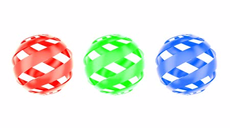 gumka : Set of colored abstract balls, animation. 3d rendering isolated on white background Wideo