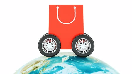 eklemek : Worldwide e-shopping, online shopping and fast delivery concept. 3D rendering