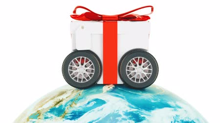 Worldwide gift delivery concept, animation. 3d rendering isolated on white background Dostupné videozáznamy
