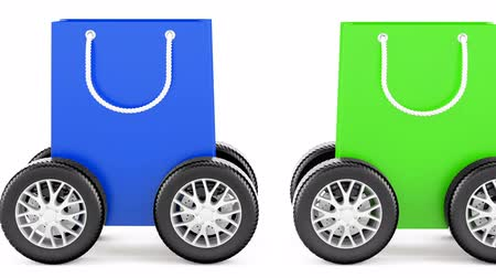 Shopping bags with car wheels, animation. 3d rendering isolated on white background