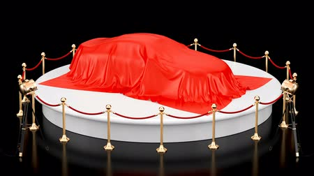 стенд : Presentation of the car concept, podium with auto red cloth, revolves around, animation concept. 3D rendering isolated on black background