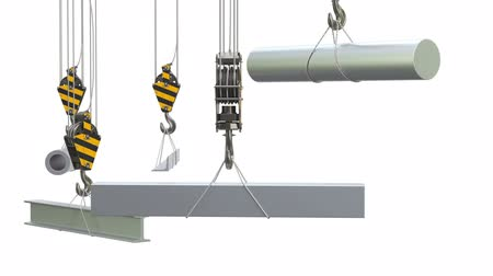 Crane hook with metallurgical products, rolled metals animation concept. 3D rendering isolated on white background