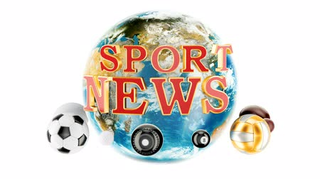 volleyball : Sport News animation concept, 3D rendering isolated on white background Stock Footage
