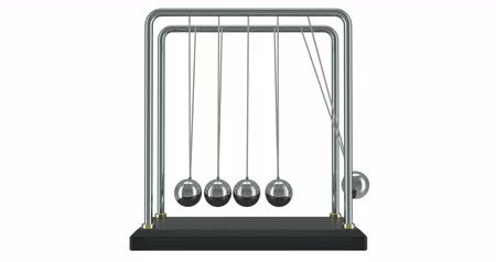 Pendulum, Newtons cradle in motion. 3D rendering isolated on white background Dostupné videozáznamy
