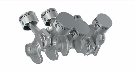 Animation, V6 engine pistons and cog in motion. 3D rendering isolated on white background