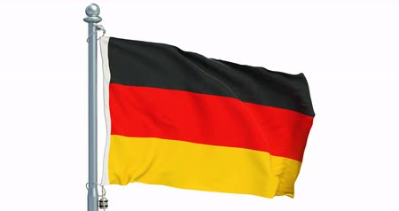 German flag waving on white background, animation. 3D rendering