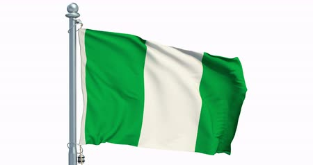 Nigerian flag waving on white background, animation. 3D rendering