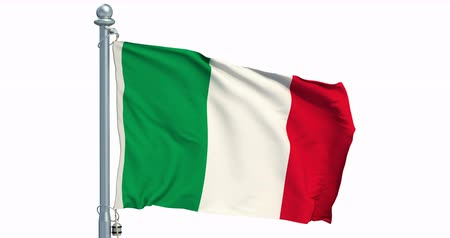 Italian flag waving on white background, animation. 3D rendering
