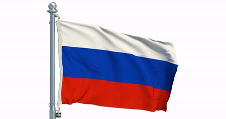 Russian flag waving on white background, animation. 3D rendering
