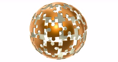 Golden spherical puzzle animation concept, isolated on white background