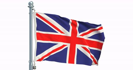 The United Kingdom flag waving on white background, animation. 3D rendering Dostupné videozáznamy