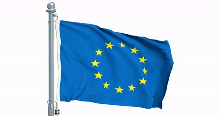 The European Union flag waving on white background, animation. 3D rendering