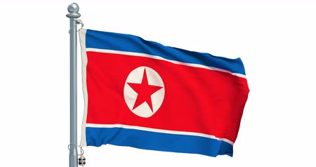 North Korea flag waving on white background, animation. 3D rendering Dostupné videozáznamy