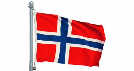 Norwegian flag waving on white background, animation. 3D rendering Dostupné videozáznamy