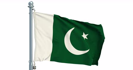 Pakistani flag waving on white background, animation. 3D rendering