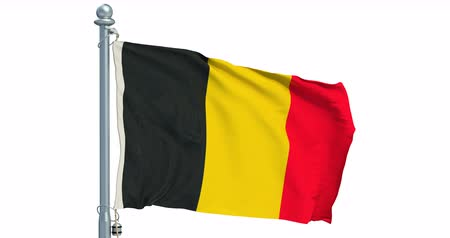 Belgian flag waving on white background, animation. 3D rendering