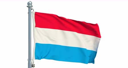 Luxembourg flag waving on white background, animation. 3D rendering