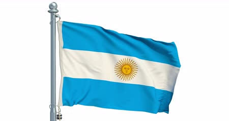 Argentine flag waving on white background, animation. 3D rendering