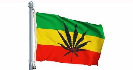 Rasta Flag, Cannabis leaf on white background, animation. 3D rendering