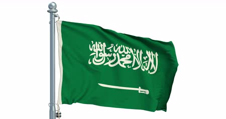 Saudi Arabia flag waving on white background, animation. 3D rendering Dostupné videozáznamy