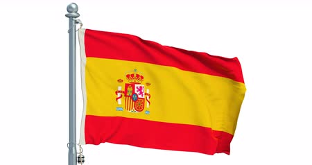 Spanish flag waving on white background, animation. 3D rendering