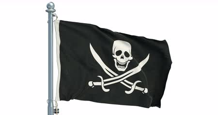 pano : Piracy flag waving on white background, animation. 3D rendering