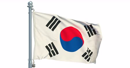 South Korea waving on white background, animation. 3D rendering