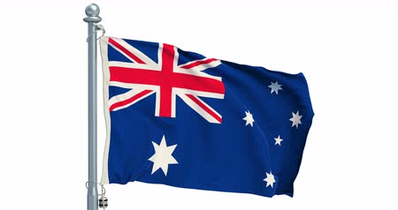 Australian flag waving on white background, animation. 3D rendering Dostupné videozáznamy
