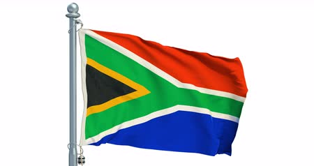 South Africa flag waving on white background, animation. 3D rendering