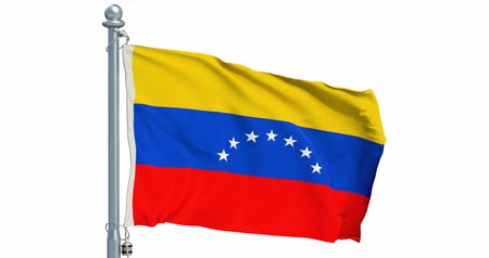 Venezuelan flag waving on white background, animation. 3D rendering Dostupné videozáznamy