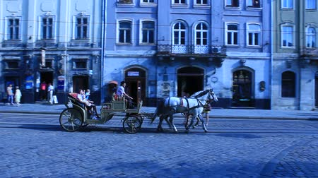 kordé : coach with two harnessed horses running in Lvov