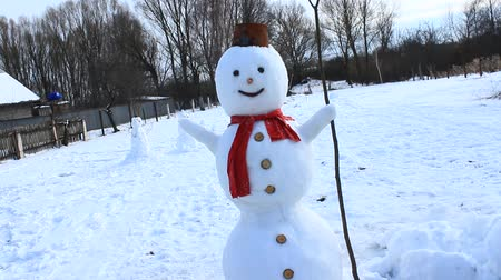 kardan adam : Snowman face close up. Snowmans smile. Muzzle of snovman. New Year attribute. Christmas snowman face. Merry christmas and happy new year greeting card