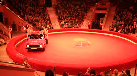 Animal trainers and trained bear driving car on arena in circus. Performance with trained bears in circus Stok Video