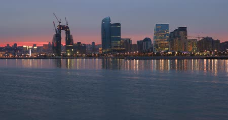 4k Panorama of the seaside boulevard in Baku at sunset day