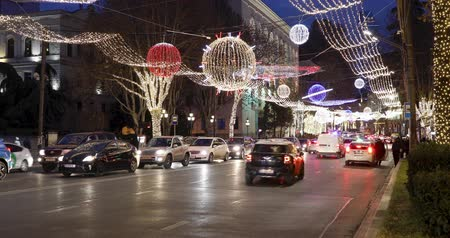 Tbilisi, Georgia - January 05, 2020: New Year decorations on the central avenue in Tbilisi