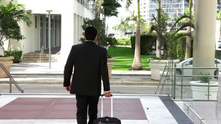 business man :  Young city businessman with travel luggage