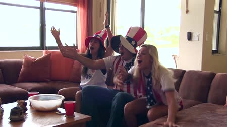 futbol : Group of happy USA soccer fans. Goal Celebration